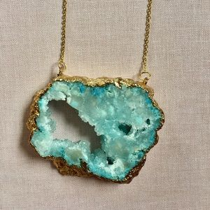 Turquoise and gold geoed necklace.